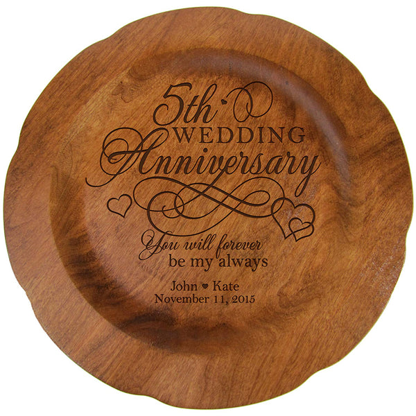 "Personalized 5th Wedding Anniversary Cherry Plate - You will always be my always - 12"" Diameter"