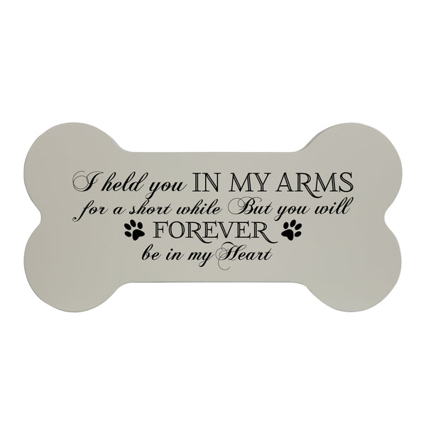 Memorial Small Dog Bone Cremation Urn Keepsake Box - I Held You Ivory