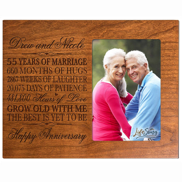 "Personalized 55th Year Wedding Anniversary Gift for Couple Custom engraved 55th Wedding Anniversary Celebration Gift Frame Holds 1 4x6 Photo 8"" X 10"""