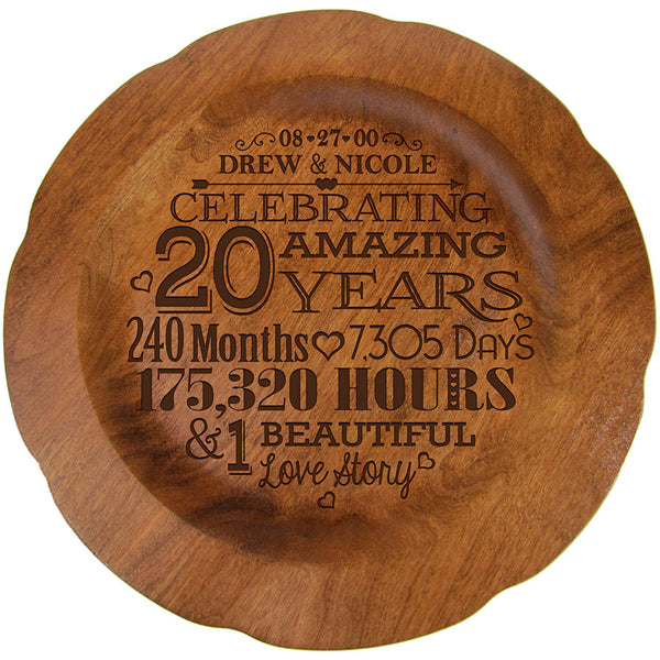 "20th Wedding Anniversary Plate Gift for Couple, Twentieth Anniversary Gifts, Happy 20 Year Wedding Anniversary for Him 12"" D Custom Engraved for Husband or Wife By LifeSong Milestones USA Made"