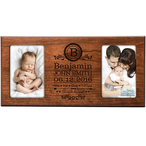 Personalized New Baby birth announcement monogram picture frame for newborn boys and girls Custom engraved photo frame for new mom and dad parents and grandparents holds 2 4x6 photos (Cherry)