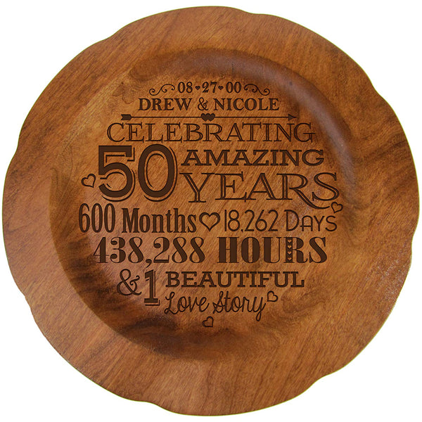 "Personalized 50th Wedding Anniversary Plate Gift for Couple, Custom Happy Fiftieth Anniversary Gifts for Her, 12"" D Custom Engraved for Husband or Wife by LifeSong Milestones USA Made"