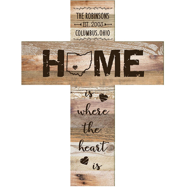 "Personalized Cross Home is where the heart is Family Established Cross with Last Name and Date Established by LifeSong Milestones 12""x16"""