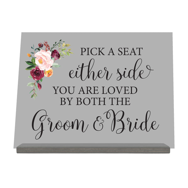 "LifeSong Milestones Acrylic Wedding Sign With Wooden Base For Ceremony And Reception - Marriage Decorations - Gifts For The Couple 8"" x 10"""
