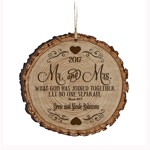 Mr and Mrs Custom Ornament What God Has Joined Together Mark 10:9