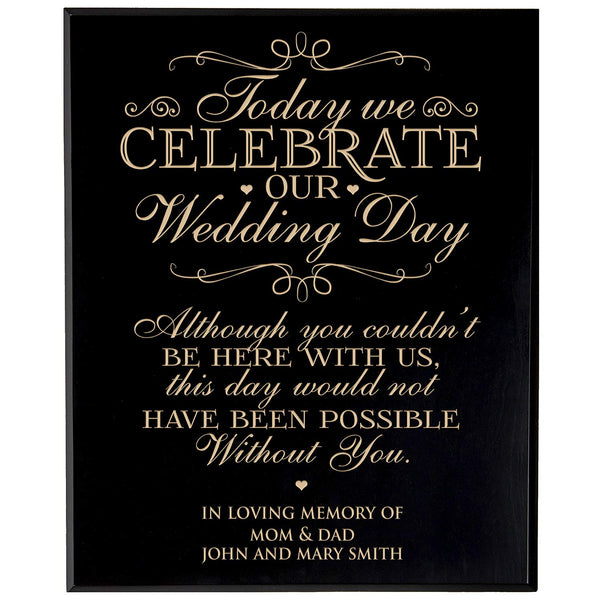 Personalized Wedding Memorial Gift, Sympathy Wall Plaque, Today We Celebrate Our Wedding Day, Custom Engraved Plaque measures 12x15 by LifeSong Milestones USA Made