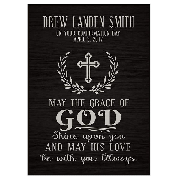 Personalized Baptism Wall Plaque - May The Grace Of God black