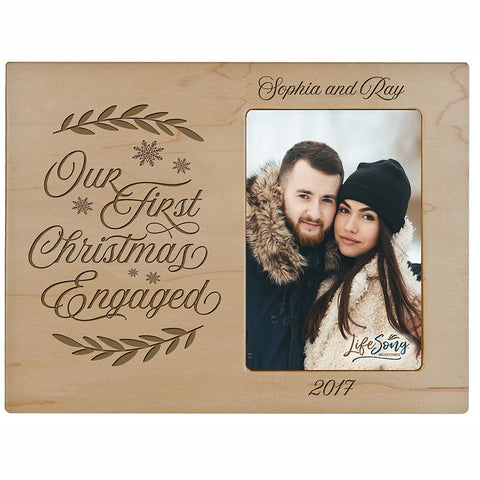 Personalized Home Christmas photo frame holds 4x6 photograph Our First Christmas Engaged