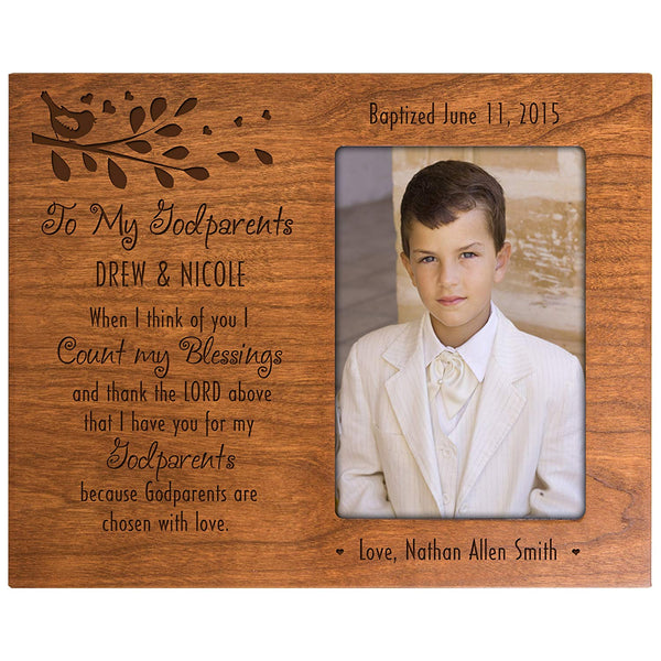 Personalized gift for Godparents from Godchild Baptism Photo Frame When I think of you I count my blessings Cherry picture frame holds 4x6 photo