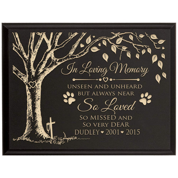 LifeSong Milestones Personalized Pet Memorial Sympathy Wall Plaque, In Loving Memory Unseen and Unheard But Always Near, Custom Engraved Plaque measures 6x8