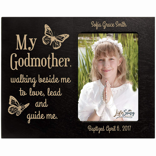 Personalized Godmother Gift Photo Frame - Walking Beside Me Black