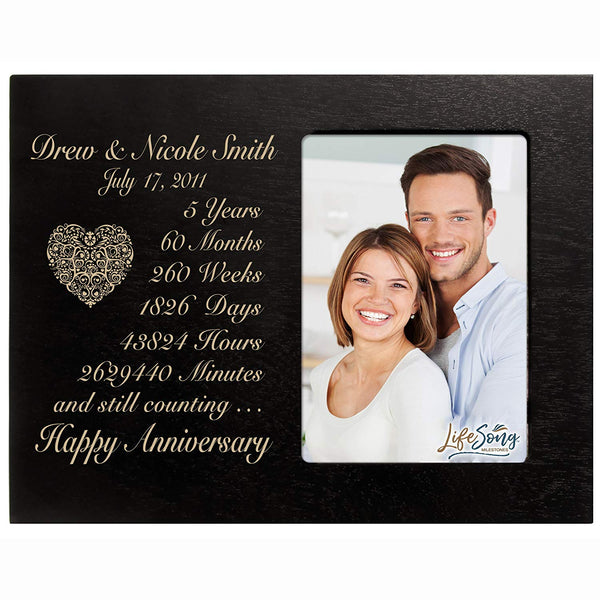 Personalized five year anniversary gift for her him couple Custom Engraved wedding gift for husband wife girlfriend boyfriend photo frame holds 4x6 photo by LifeSong Milestones