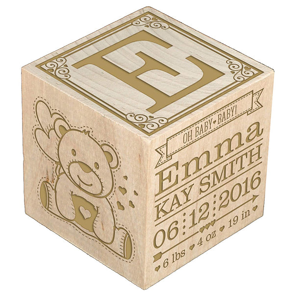 Personalized New Baby birth announcement Engraved wooden baby block for newborn boys and girls Custom engraved Love at First Sight First We had each other then we had you now we have Everything