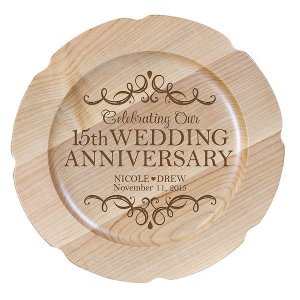 "15th Wedding Anniversary Plate Gift for Couple, Tenth Anniversary Gifts for Her, Happy Wedding Anniversary 12"" D Custom Engraved for Husband or Wife By LifeSong Milestones USA Made"