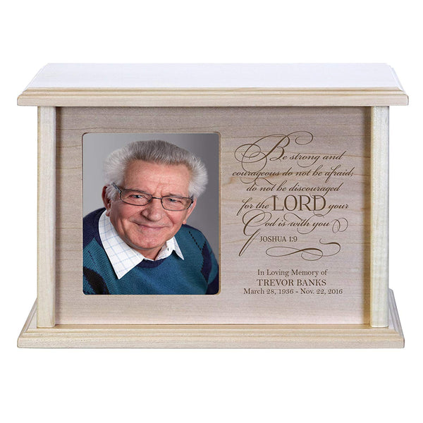 Cremation Urns for Human Ashes Memorial Keepsake box for cremains, personalized Urn for adults and children ashes Be strong and courageous Joshua 1:9 Holds small portion of ashes and holds 4x6 photo