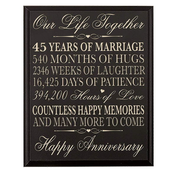 45th Wedding Anniversary Wall Plaque Gift For Couples