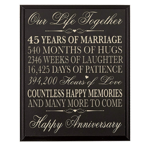 LifeSong Milestones 45th Wedding Anniversary Wall Plaque Gifts for Couple, 45th Anniversary Gifts for Her,45th Wedding Anniversary Gifts for Him Wall Plaque Special Dates to Remember By (Black)