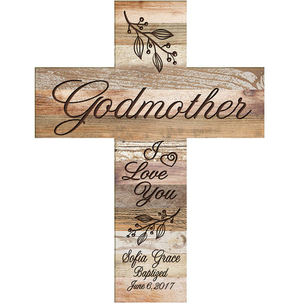 Personalized Godmother Dark Distressed Wall Cross - I Love You