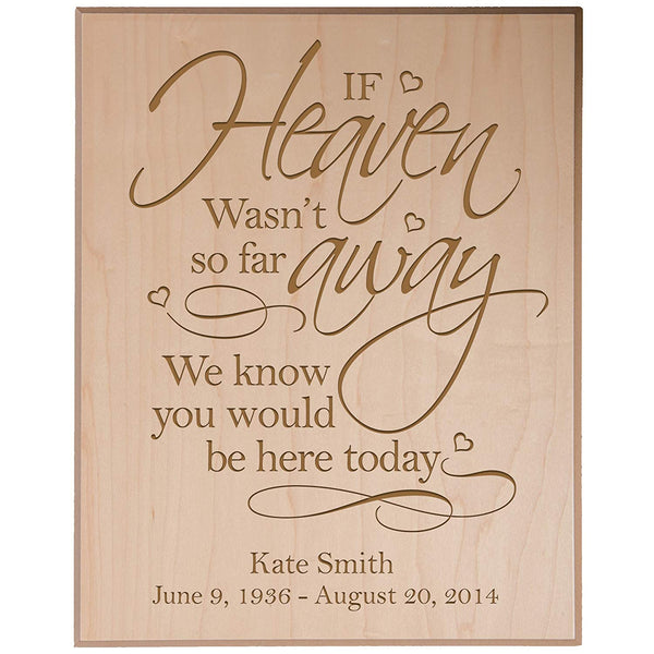 Personalized Wedding Memorial Wall Plaque - If Heaven Wasn't So Far Away We Know You Would Be Here