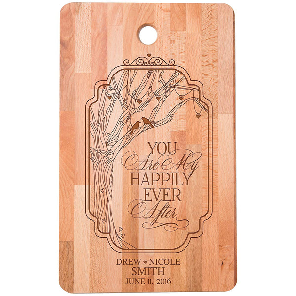 "Personalized bamboo Cutting Board You Are My Happily Ever After for bride and groom Wedding Anniversary Gift Ideas for Him, Her, Couples Established Dates to Remember 11""w x 18""h"