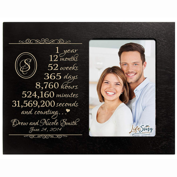 Personalized one year anniversary gift for her him couple Custom Engraved wedding gift for husband wife girlfriend boyfriend photo frame holds 4x6 photo by LifeSong Milestones