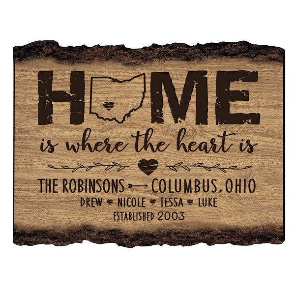 Personalized Bark Wood Sign Home is where the heart is Family Established with Last Name, First Names and Date Established by LifeSong Milestones 12x9 in.