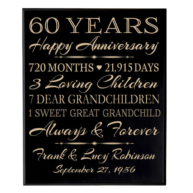 Personalized 60th Anniversary Wall Plaque - True Love Lasts Forever Black Veneer