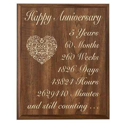 5th Wedding Anniversary Wall Plaque Gifts for Couple By LifeSong Milestones