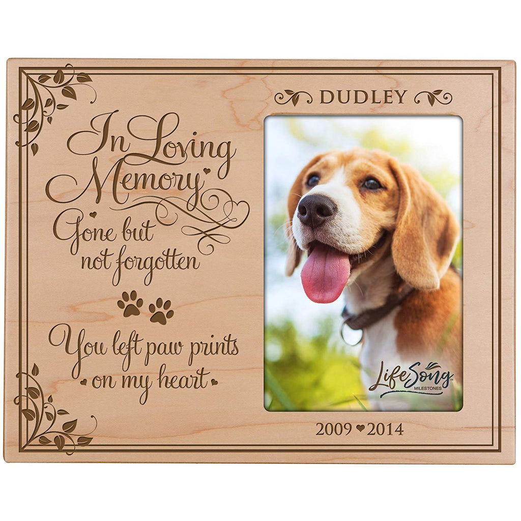 LifeSong Milestones Personalized Pet Memorial Sympathy Photo Frame, In