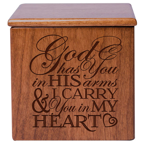 Cremation Urns for Human ashes - Funeral Urn small Keepsake box for Pets - Memorial Gift for home or Columbarium Niche God Has you in His Arms and I carry you in my heart LifeSong Milestones