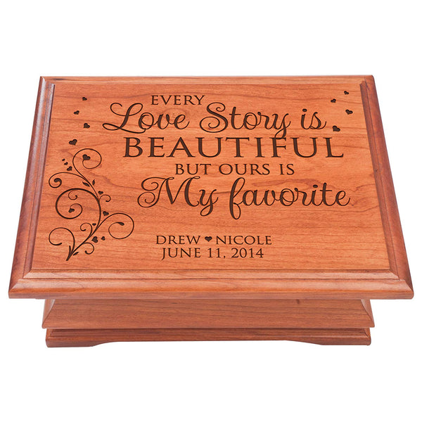 Wooden Personalized Keepsake or Jewelry Box - Every Love Story is Beautiful