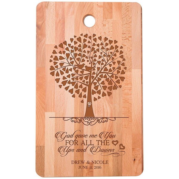 "Personalized bamboo Cutting Board reads God gave me you for all the ups and downs for bride and groom Wedding Anniversary Gift Ideas for Him, Her, Couples Established Dates to Remember 11""w x 18""h"
