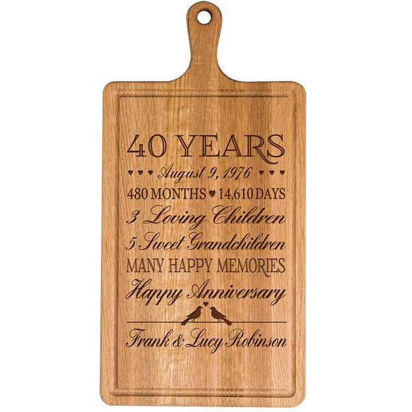 Personalized 40th Year Anniversary Gift for Him Her wife husband Couple Cheese Cutting Board Customized with Year Established dates to remember for Wedding Gift ideas by LifeSong Milestones
