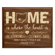 Personalized State Home Is Where The Heart Is Wall Plaque (Walnut)