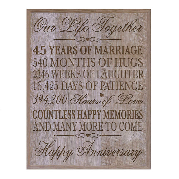 "45th Wedding Anniversary Wall Plaque Gifts for Couple, 45th Anniversary Gifts for Her, Gifts for Him 12"" W X 15"" H Wall Plaque By LifeSong Milestones (Barnwood)"