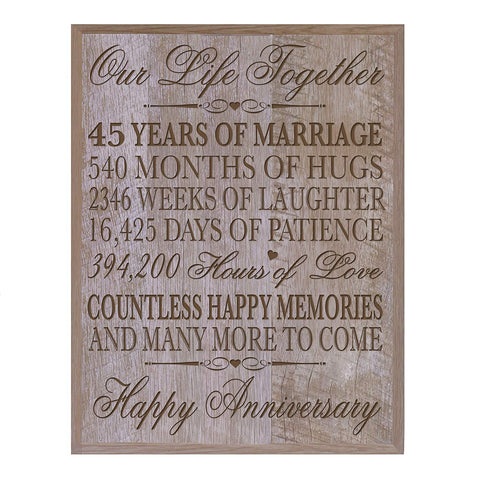 "45th Wedding Anniversary Wall Plaque for Couple, 45th Anniversary 12"" W X 15"" H Wall Plaque By LifeSong Milestones (Barnwood)"