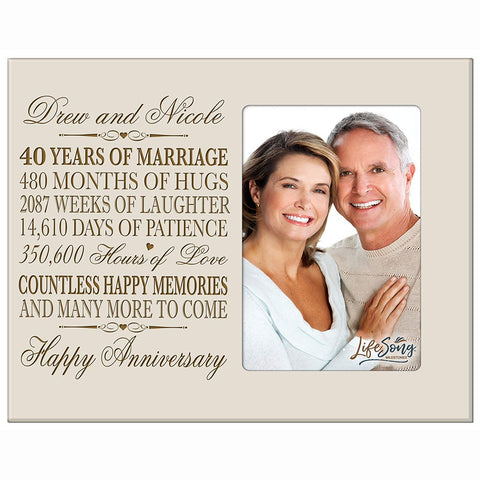 Personalized 40th Anniversary Photo Frame - Happy Anniversary Ivory