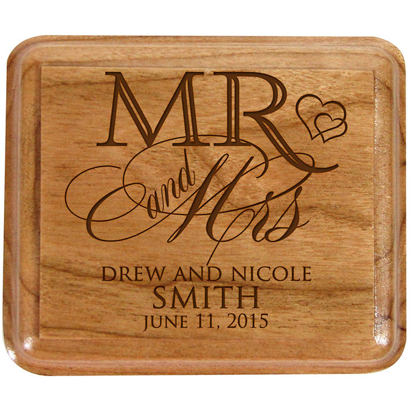 Personalized Mr and Mrs Double Cherry Wooden Double Wedding Ring Box for Ceremony ,Custom Monogram Engagement Ring Box Holder By LifeSong Milestones