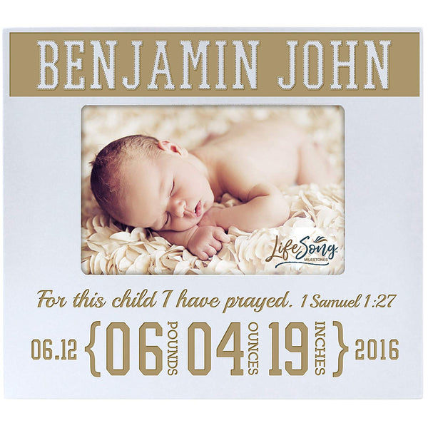 Personalized Birth Announcement Picture Frame - 1 Samuel 27 (White)