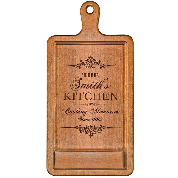 Personalized Cherry iPad Cook book Recipe holder with stand under counter for Kitchen with Family Name and Year Established date Cooking Memories Wedding Gift ideas for Him Her Couple