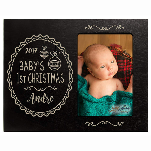 Personalized Baby's First Christmas photo frame holds 4x6 photograph Exclusively by LifeSong Milestones.