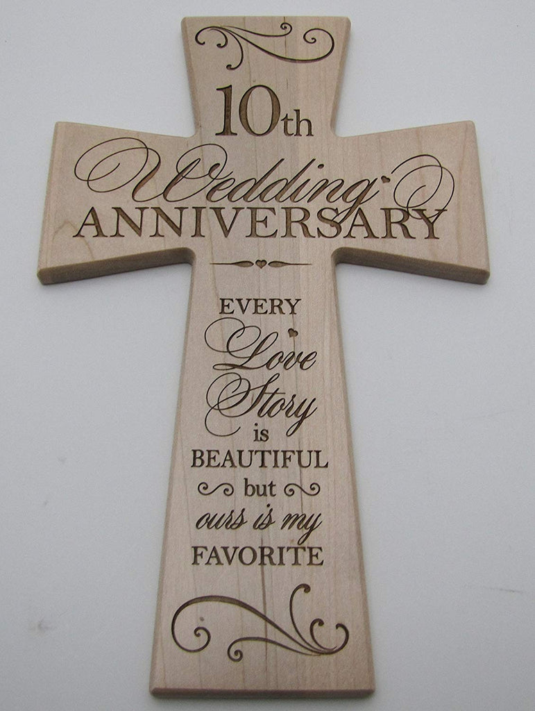 10th Wedding Anniversary Maple Wood Wall Cross Gift For Couple 10