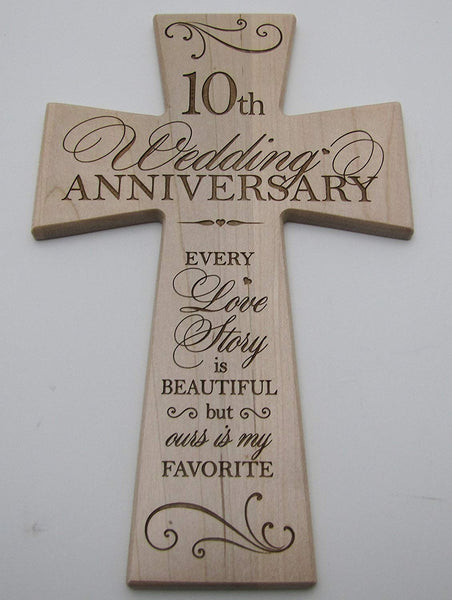 10th Wedding Anniversary Maple Wood Wall Cross Gift for Couple, 10 year Anniversary Gifts for Her, Tenth Wedding Anniversary Gifts for Him