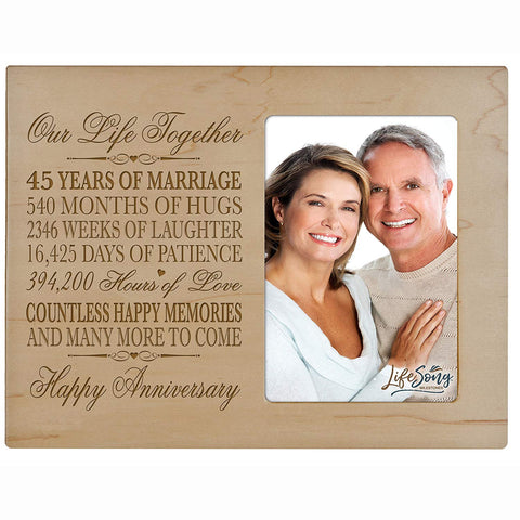 "45 Year Wedding Anniversary Frame Gift for him her couple Custom Engraved 45th year wedding celebration for husband or wife Photo Frame Holds 1 4x6 Photo 8"" H X 10"" W"