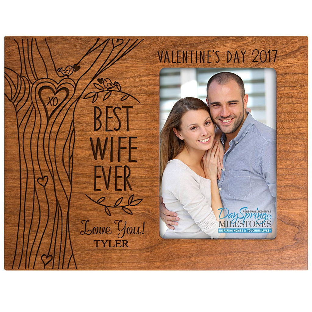 Personalized Valentines Day Photo Frame Gift Custom Engraved Ideas For Couple Best Wife Ever Frame Holds