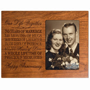 70th Anniversary Photo Frame - Our Life Together Cherry