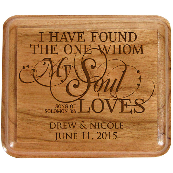 LifeSong Milestones Personalized Double Cherry Wooden Double Wedding Ring Box for Ceremony I Have Found the One Whom My Soul Loves,custom Engagement Ring Box Holder