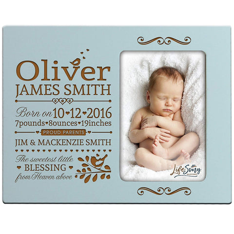 Personalized New Baby Photo Frame - The Sweetest Little Blessing Blue