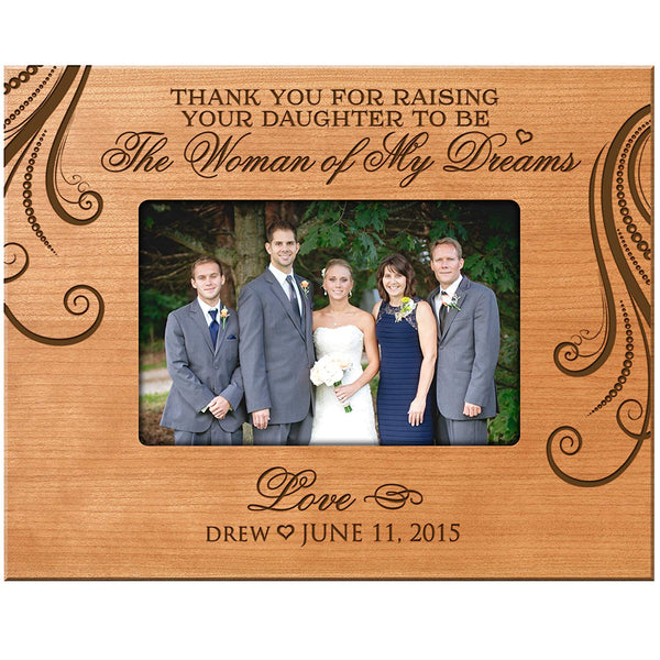LifeSong Milestones Personalized Parent Wedding Gift Thank You for Raising Your Daughter to Be the Woman of My Dreams Wedding Gift for Parents 9.75 Inches Long X 7.75 Inches High