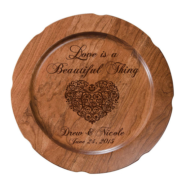 "Personalized Love is a Beautiful Thing Wedding Anniversary Gift for Her, Happy Anniversary for Him, 12"" plate Custom Engraved for Husband or Wife by Dayspring Milestones USA Made"